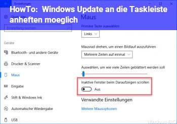 HowTo Windows Update an die Taskleiste anheften möglich?