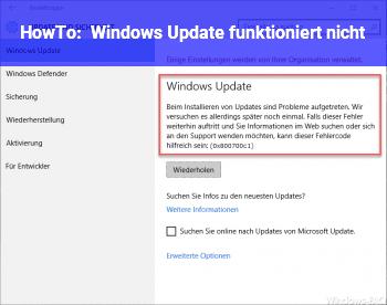 HowTo Windows Update funktioniert nicht