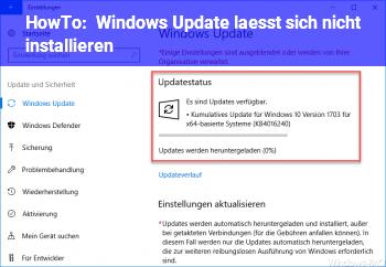 HowTo Windows Update lässt sich nicht installieren