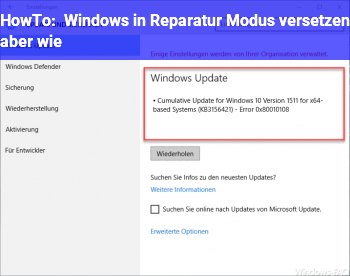 HowTo Windows in Reparatur Modus versetzen aber wie
