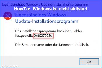 HowTo Windows ist nicht aktiviert