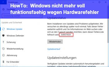 HowTo Windows nicht mehr voll funktionsfähig wegen Hardwarefehler?