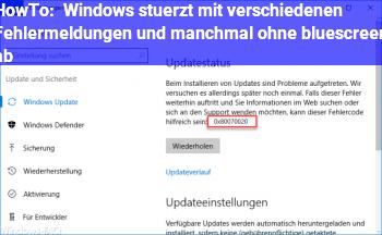 HowTo Windows stürzt mit verschiedenen Fehlermeldungen und manchmal ohne bluescreen ab