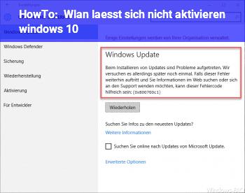 HowTo Wlan lässt sich nicht aktivieren windows 10