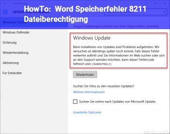 HowTo Word Speicherfehler – Dateiberechtigung
