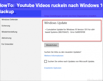 HowTo Youtube Videos ruckeln nach Windows 10 Backup