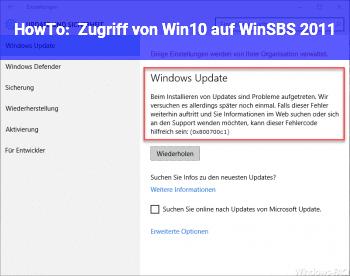 HowTo Zugriff von Win10 auf WinSBS 2011