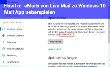 HowTo eMails von Live Mail zu Windows 10 Mail App überspielen