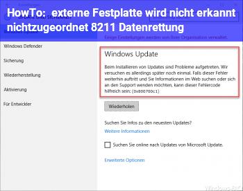 HowTo externe Festplatte wird nicht erkannt (nichtzugeordnet) – Datenrettung