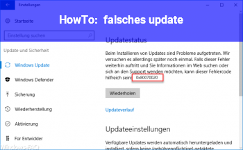 "HowTo ""falsches"" update"