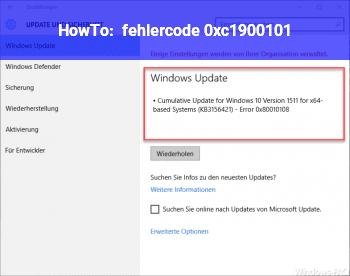 HowTo fehlercode 0xc1900101