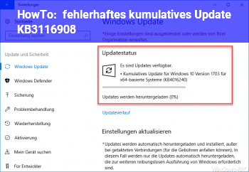 HowTo fehlerhaftes kumulatives Update KB3116908