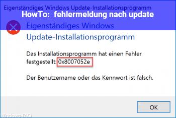 HowTo fehlermeldung nach update