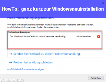 HowTo ganz kurz zur Windowsneuinstallation