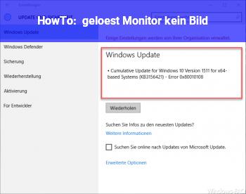 HowTo { gelöst ] Monitor kein Bild