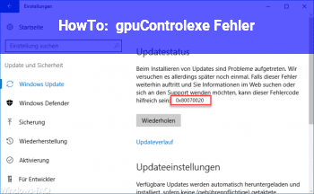 HowTo gpuControl.exe – Fehler