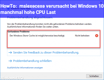 HowTo msiexec.exe verursacht bei Windows 10 manchmal hohe CPU Last