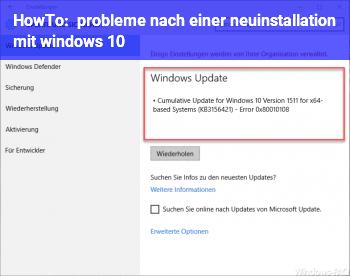 HowTo probleme nach einer neuinstallation mit windows 10