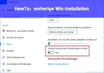 HowTo vorherige Win-Installation