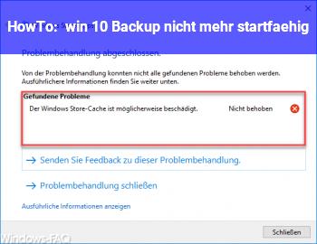HowTo win 10 Backup nicht mehr startfähig