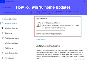 HowTo win 10 home Updates