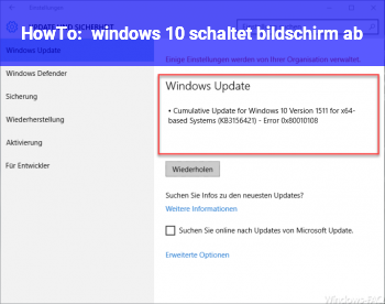 HowTo windows 10 schaltet bildschirm ab