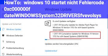 HowTo windows 10 startet nicht, Fehlercode 0xc000000f datei:\WINDOWS\System32\DRIVERS\fvevol.sys