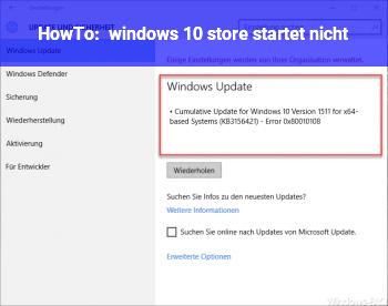 HowTo windows 10 store startet nicht
