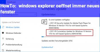 HowTo windows explorer öffnet immer neues fenster