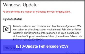 IE10-Update: Fehlercode 9C59