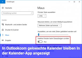 In Outlook.com gelöschte Kalender bleiben In der Kalender-App angezeigt