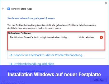 Installation Windows auf neuer Festplatte