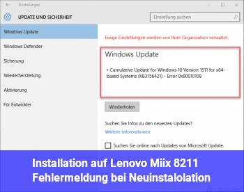 Installation auf Lenovo Miix – Fehlermeldung bei Neuinstalolation