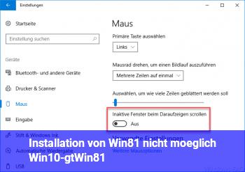 Installation von Win8.1 nicht möglich (Win10->Win8.1)