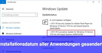 Installationsdatum aller Anwendungen geändert?