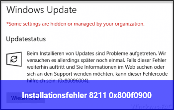 Installationsfehler – 0x800f0900
