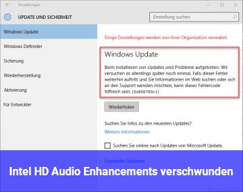 Intel HD Audio Enhancements verschwunden