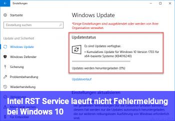 Intel RST Service läuft nicht Fehlermeldung bei Windows 10