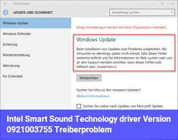 Intel Smart Sound Technology driver (Version 09.21.00.3755) Treiberproblem