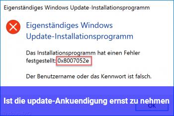 Ist die update-Ankündigung ernst zu nehmen?