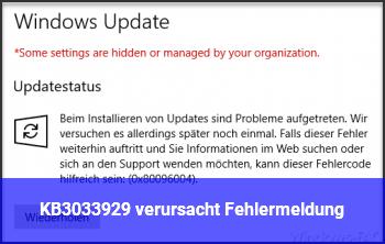 KB3033929 verursacht Fehlermeldung