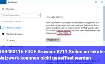KB4480116 & EDGE Browser – Seiten im lokalen Netzwerk können nicht geöffnet werden