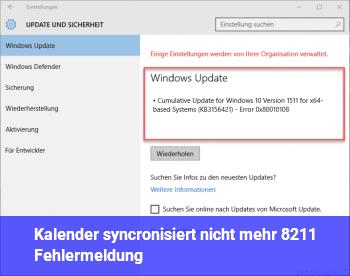 Kalender syncronisiert nicht mehr – Fehlermeldung