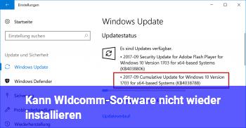Kann WIdcomm-Software nicht wieder installieren