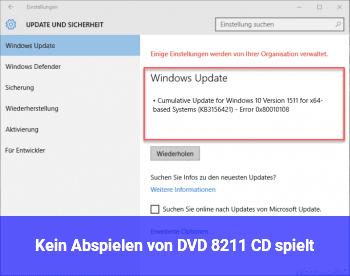 Kein Abspielen von DVD – CD spielt