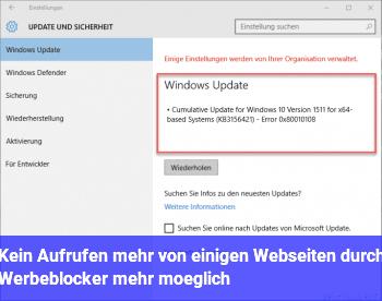 Kein Aufrufen mehr von einigen Webseiten durch Werbeblocker mehr möglich