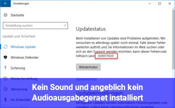 """Kein Sound und angeblich """"kein Audioausgabegerät installiert"""""""