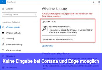Keine Eingabe bei Cortana und Edge möglich