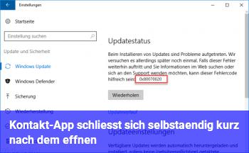 Kontakt-App schließt sich selbständig kurz nach dem Öffnen