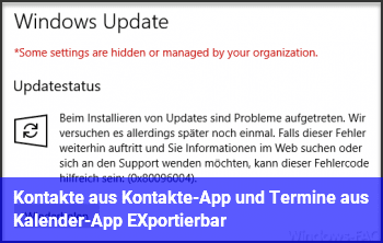 Kontakte aus Kontakte-App und Termine aus Kalender-App EXportierbar?